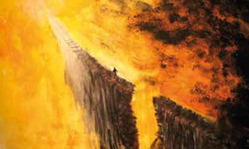 Gemaelde: Mensch geht ueber einen schmalen Pfad von einer Schlucht und Feuer umgeben