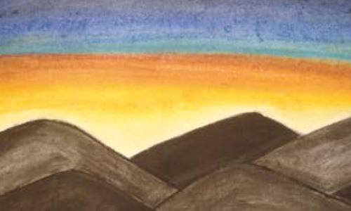 Gemälde - Sonne geht hinter den dunklen Bergen auf