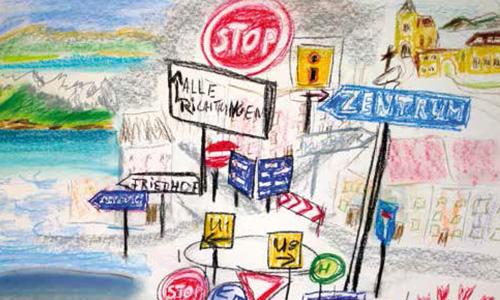 Zeichnung von Schildern, die in verschiedene Richtungen zeigen